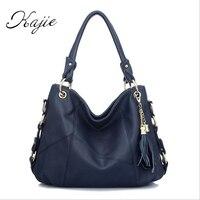 Kajie Famous Designer Bags Lady Split Leather Handbags Fashion Patchwork Tassel Crossbody Bags Women Casual Shoulder