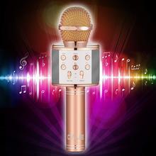 WS858 Micrófono de Karaoke inalámbrico, altavoz profesional con Bluetooth, portátil, para teléfonos inteligentes Apple, iPhone y Android, WS 858