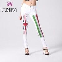 ORINERY Venda Quente Bandeira Impresso Jeans Mulher Famosa Marca White Denim Jeans Moda Skinny Calças Lápis Calças Elásticas Plus Size