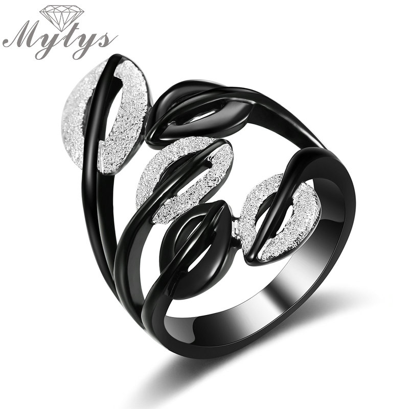 Mytys Black Silver Two Tone Rings for Women Fashion Party Leaf Hollow Out Girls Rings Gift Wholesale Drop Shipping R1985 chic faux crystal leaf hollow out bracelet for women