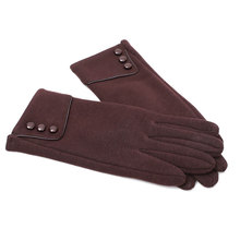 Autumn  And  Winter New Fashion Pop Ladies Three Buttons Plus Velvet Not Down Velvet Bicycle Thickening Touch Screen  Gloves