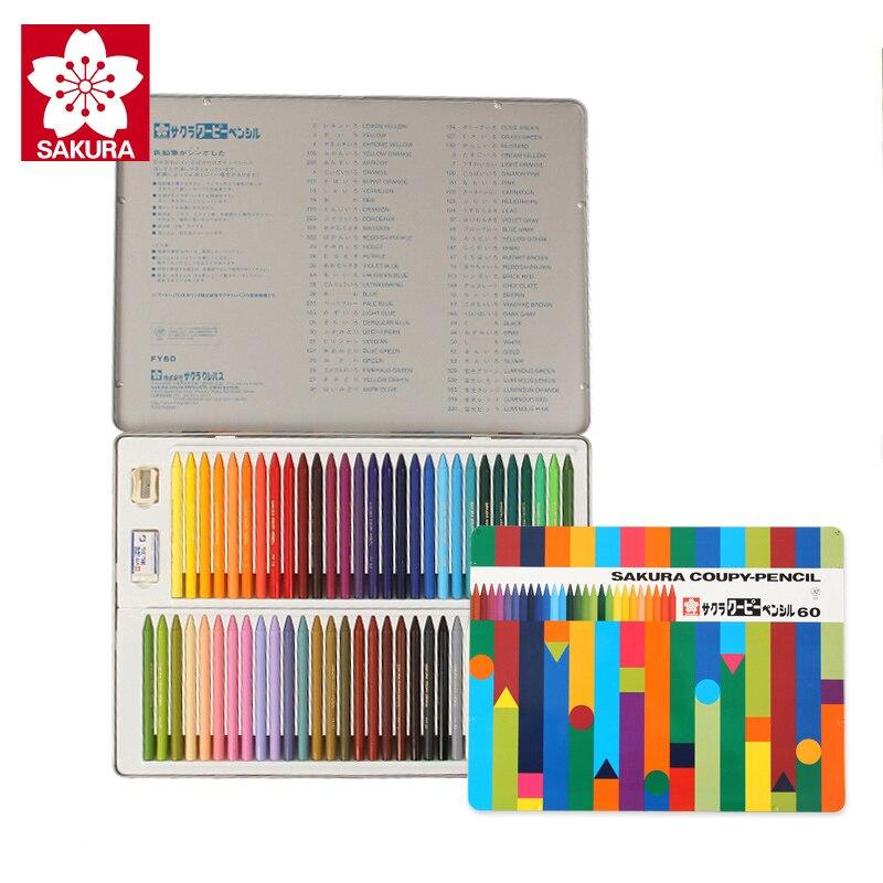 Sakura 24/30/60 couleur en plastique crayon effaçable enfants dessin crayons boîte en fer blanc - 4