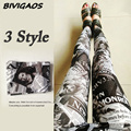 2016 New Fashion Newspaper Belle Black White Digital Printed Graffiti Flowers Leggings Pants  Elastic Leggings Trousers Women