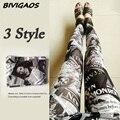 2016 Nueva Moda Periódico Belle Negro Blanco Flores de Graffiti Leggings Digital Impresa Pantalones Leggings Elásticos Pantalones de Las Mujeres
