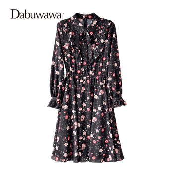 Dabuwawa Black Spring Long Sleeve Floral Print Dress Casual Chiffon Dress European Style Elastic Waist A-line Dress floral chiffon dress long sleeve