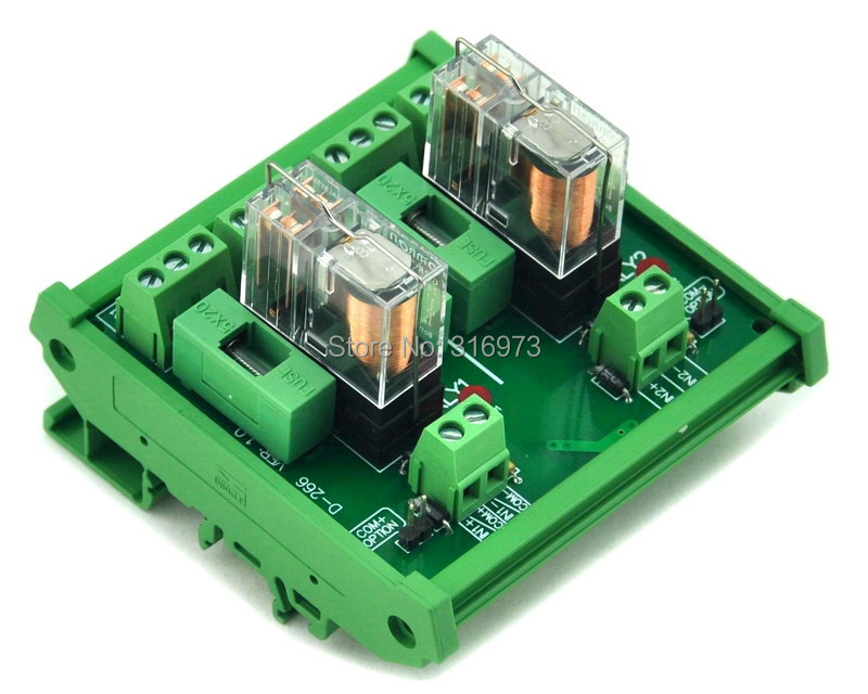 DIN Rail Mount Fused 2 DPDT 5A Power Relay Interface Module, G2R-2 12V DC Relay.