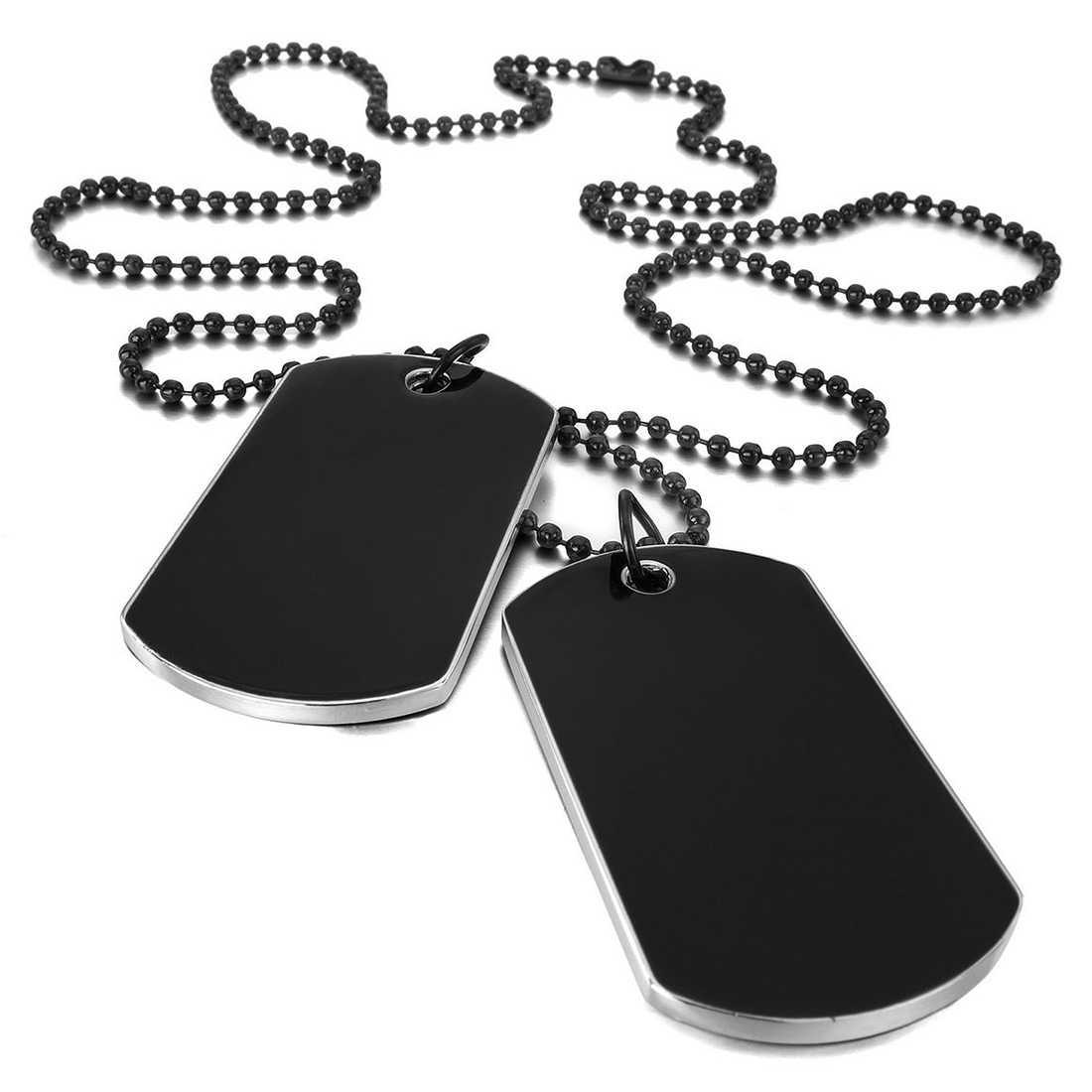 سبيكة قلادة قلادة بيان الفضة الجانب الأسود الجيش السائق نمط الكلب علامة لوحة سلسلة قلادة للنساء الرجال المجوهرات