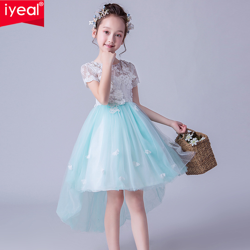 IYEAL High Low Flower Girl Dresses for Wedding Lace Appliques Short Sleeve Girls Pageant Gowns Children Birthday Party DressIYEAL High Low Flower Girl Dresses for Wedding Lace Appliques Short Sleeve Girls Pageant Gowns Children Birthday Party Dress