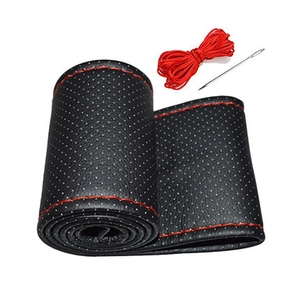 Image 3 - DIY Steering Wheel Covers 38cm Soft Artificial Leather Car Braid On steering wheel with Needle and Thread Interior Accessories