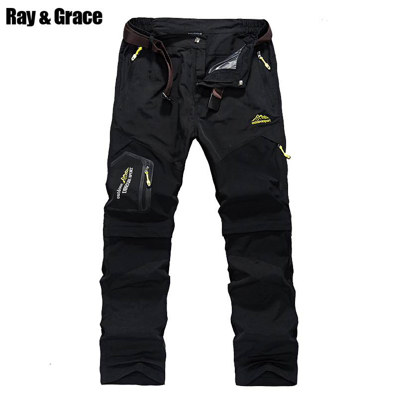 RAY GRACE Quick-drying Lightweight Hiking Pants For Men Shorts Camping Outdoor Sports Quick Dry Tactical Mens Pants Hunting mens breathable quick dry hiking pants ripstop tactical pants waterproof fast dry multi pockets summer sports riding pants