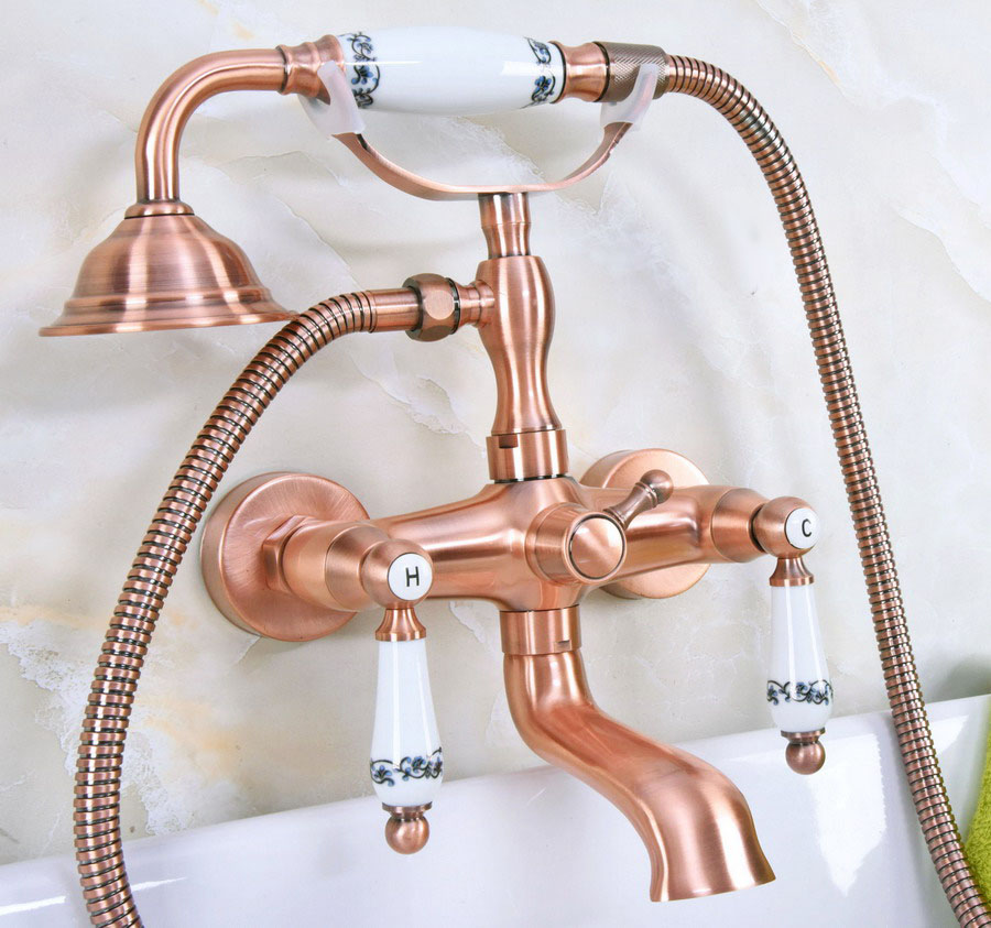 Antique Red Copper Brass Double Ceramic Handles Wall Mounted Bathroom Clawfoot Bathtub Tub Faucet Mixer Tap w/Hand Shower ana329 antique brass 8 rain shower faucet set double corss handles tub mixer hand unit