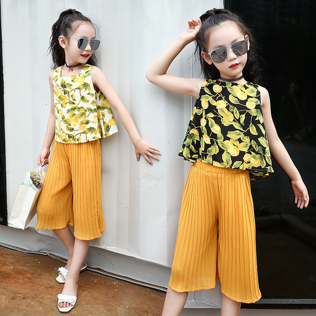 81a06998a419 Kids Girls Clothing Sets Summer 2019 Little Girls Sleeveless Blouse Top &  Yellow Pants 2 pcs