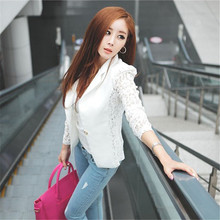 Hot Sale Spring Lace Blazer Suit Women One Button Lady OL Coat Crochet Jacket Outwear Blazer Feminino ZT1