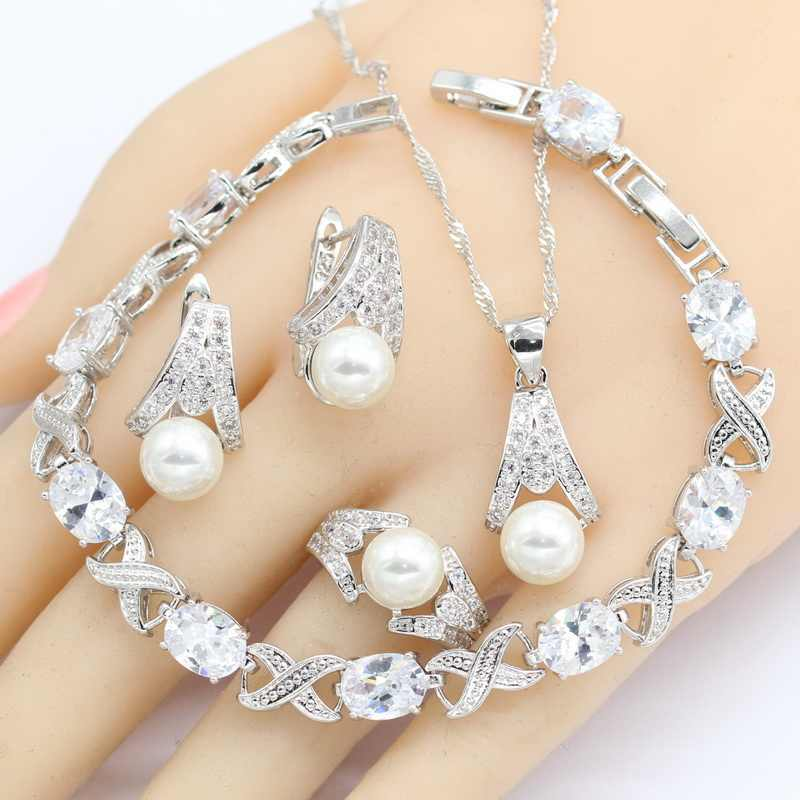 White Freshwater Pearl 925 Silver Jewelry Sets Women  Bracelet Earrings Necklace Pendant Rings Wedding Jewelry Gift Box