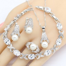цена на White Freshwater Pearl 925 Silver Jewelry Sets Women  Bracelet Earrings Necklace Pendant Rings Wedding Jewelry Gift Box
