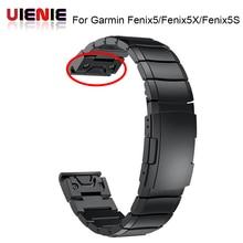 26 22 20MM רצועת השעון רצועת עבור Garmin Fenix 5X 5 5S 3 3HR D2 S60 GPS שעון מהיר ReleaseStainless פלדת רצועת יד להקת רצועה