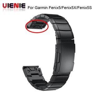 Image 1 - 26 22 20MM Watchband Strap for Garmin Fenix 5X 5 5S 3 3HR D2 S60 GPS Watch Quick ReleaseStainless steel strip Wrist Band Strap
