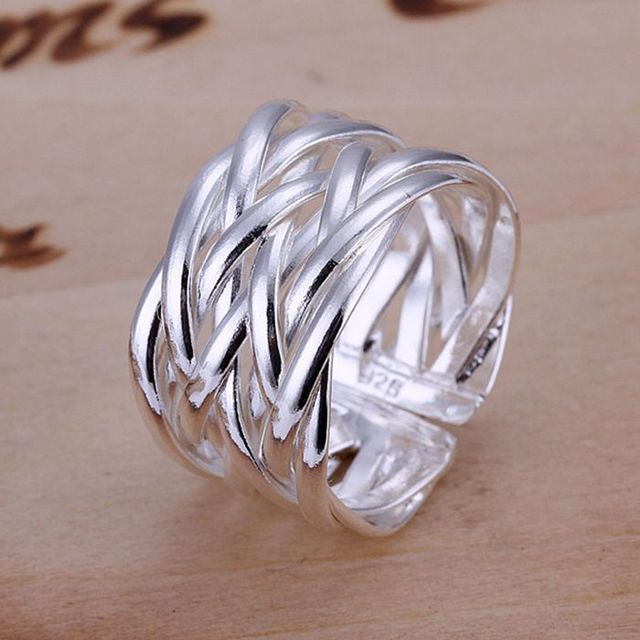 925 jewelry silver plated Ring Fine Fashion Weaving Net Silver Jewelry Ring Wome