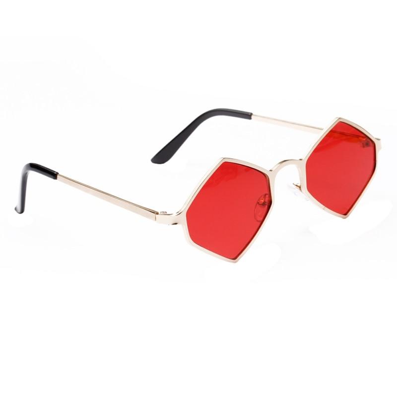 New Fashion Diamond Sunglasses Uv400 Women Vintage Hexagon Metal Frame Sun Glasses For Female Red Yellow Lens Shade W4 Sturdy Construction Women's Glasses Apparel Accessories