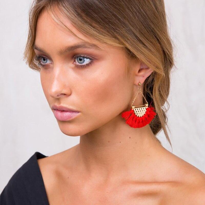 JURAN 13 Colors 2017 New Fashion Fringing Earrings Statement Jewelry Tassel Long Earring For Women Wedding Dangle Drop Earrings