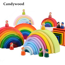 Baby Toys Large 12Pcs Rainbow Stacker Wooden Toys For Kids Creative Rainbow Building Blocks Montessori Educational Toy Children(China)