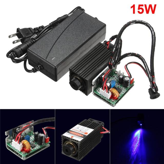 DIY 15 W láser cabeza Módulo de grabado de alta potencia 15000 MW Color azul láser cabeza DIY Metal grabado 450nm láser con controlador TTL