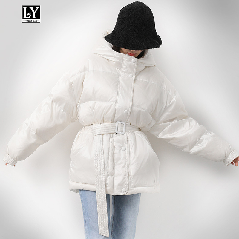 Ly Varey Lin 90% White Duck   Down   Jacket Women Winter Loose   Coat   Warm Hood Parkas Black White Red Female Outerwear With Belt