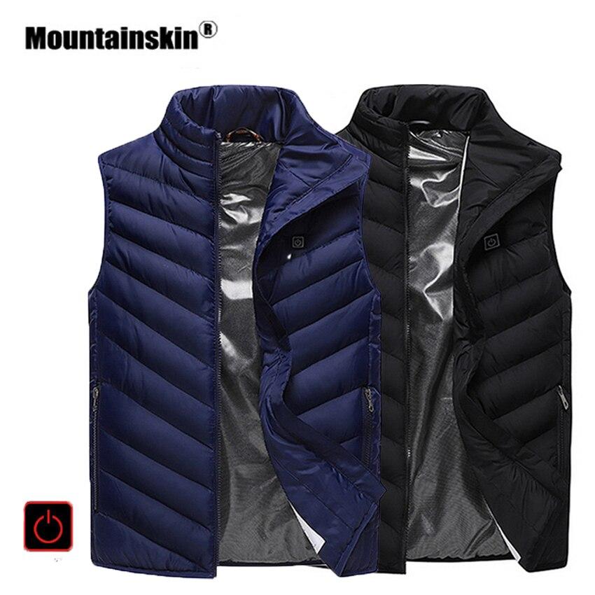 Mountainskin Hommes de Camping D'hiver En Plein Air Randonnée Sport Gilet USB Chauffage Gilets Thermique Sans Manches Marque Vêtements VA327