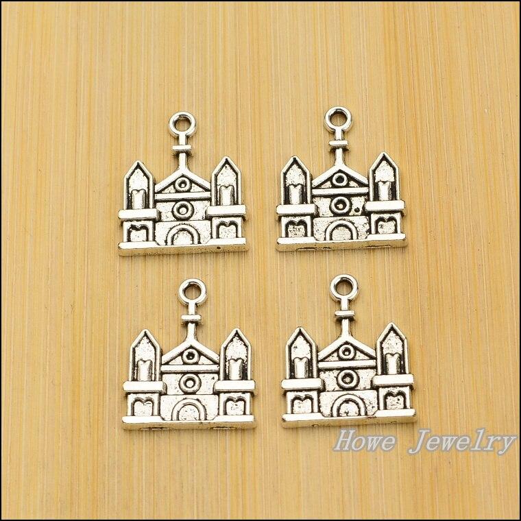 wholesale  75pcs retro  Castle house    charm Tibetan silver  fit  for  Necklaces & Pendants  jewelry findings