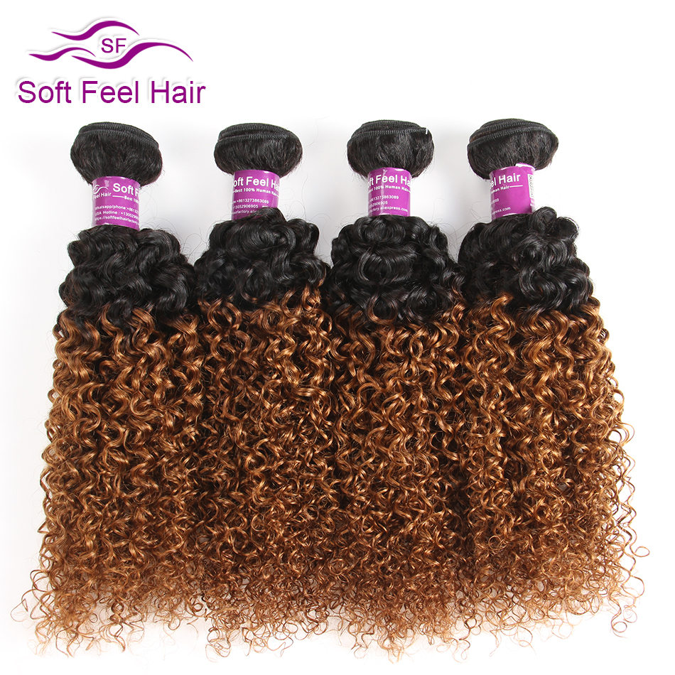Soft Feel Hair Ombre Brazilian Kinky Curly Hair 4 Bundles 1B/30 Ombre Human Hair Weave Bundles Remy Hair Extensions 10-26 Inches