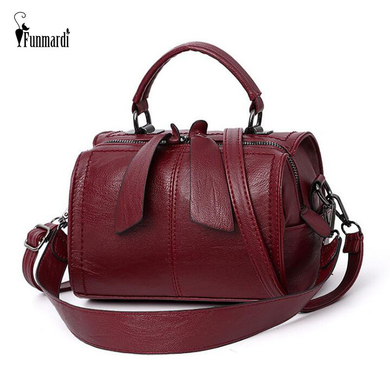 FUNMARDI Soft PU Leather Handbag Women Shoulder Bag High Quality Crossbody Bags Fashion Boston Pillow Ladies Bag Totes WLHB1976-in Top-Handle Bags from Luggage & Bags