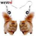 WEVENI акриловые серьги «Котенок» с пушистыми жирными котами, большие длинные висячие серьги с милыми животными, ювелирные изделия для женщин,...