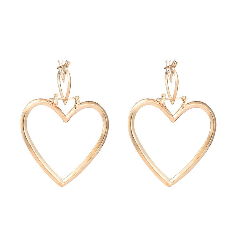 Tocona Bohemia Gold Silver Color Love Heart Shape Drop Earrings for Women Trendy Double Heart Alloy Dangle Earrings 4181