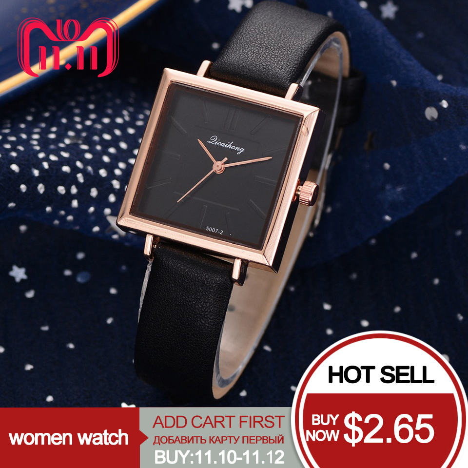 Watches Women Square Leather Strap Casual Quartz Watch Ladies Fashion Luxury Brand Butterfly Wristwatch Female Clock duoya fashion luxury women gold watches casual bracelet wristwatch fabric rhinestone strap quartz ladies wrist watch clock