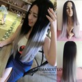 Heat Resistant Synthetic hair  Ombre grey wigs Glueless long skill straight two tone black root gray wigs for women harajuku wig