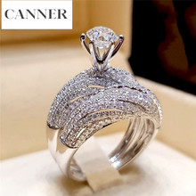 CANNER Fashion Luxury Crystal Zircon Micro Pave Ring Set Boho 925 Silver Wedding Bridal Promise Engagement Rings For Women R4
