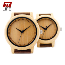 TTLIFE Handcrafted Lovers Wood Watch Minimalist Japanese Quartz Movement Men Women Leather Strap Bamboo Watches With Box Package