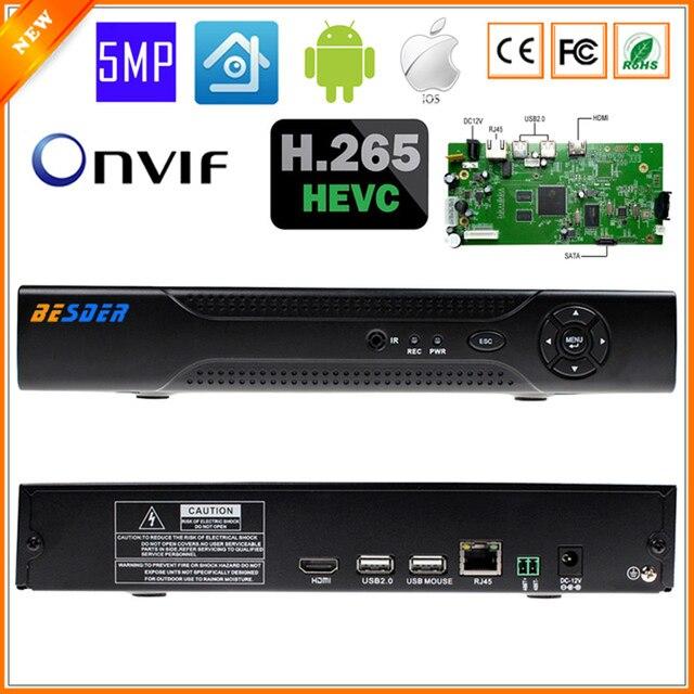 BESDER XMEYE Max 4K Output H.265 Multi Language CCTV NVR 4CH 5MP NVR For H.265 H.264 IP Camera ONVIF 2.0 Wifi RS485 PTZ