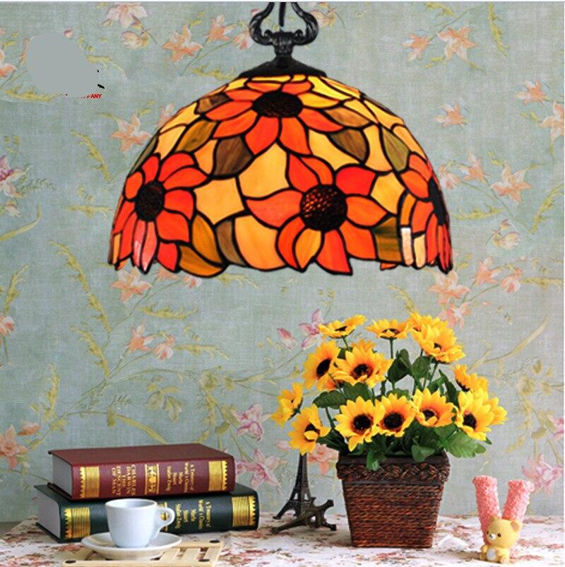 ФОТО Tiffany mediterranean sea handmade sunflower Dia 20/25/30/40cm led e27 pendant light for dining room living room AC 80-265V 1135