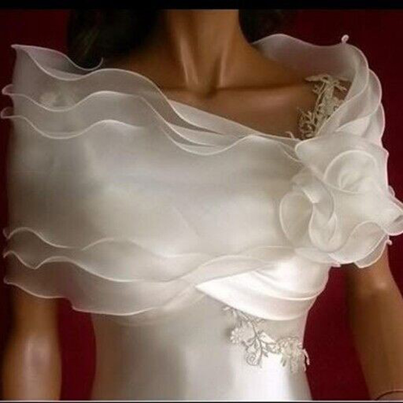 New Wedding Bolero Ruffles Short Women Bridal Cape Red White Cloak Cheap Wedding Accessories