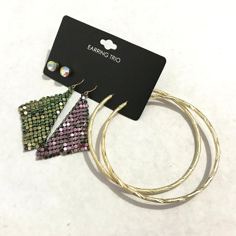 Gothletic золото/родий Цвет 3prs/комплект серьги анодированного кольчуге Iridencent стразами 80 мм текстурированная металлический обруч серьги