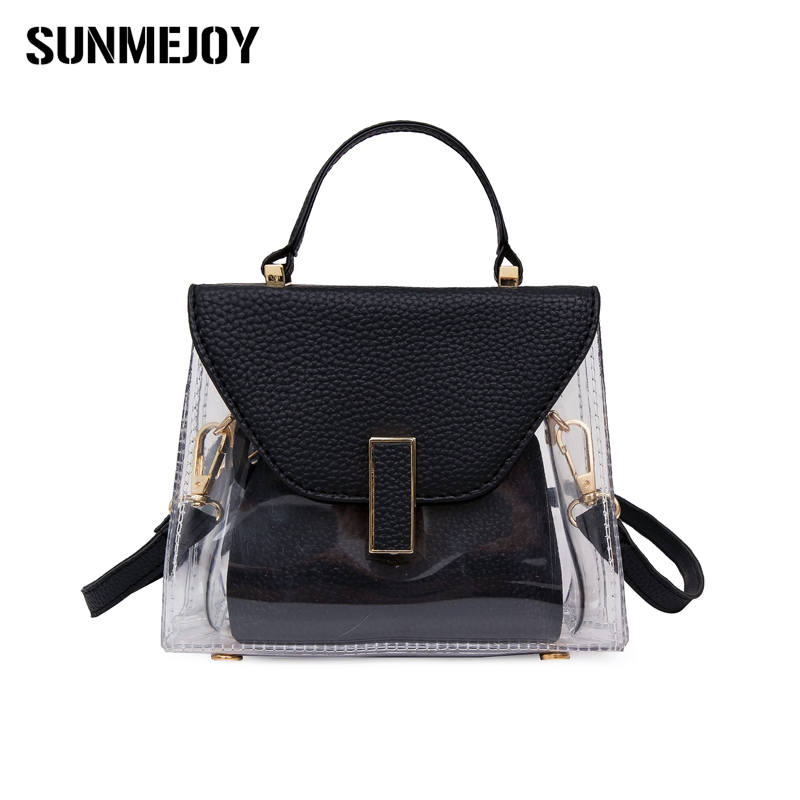 SUNMEJOY Summer Transparent Women Beach Jelly Bag Clear PVC Handbag Fashion Pudding Shoulder Bag Messenger Bags Cheap Wholesale free shipping butterfly shopping bag lovely pvc waterproof ted bag colorful jelly handbag women handbag with original logo
