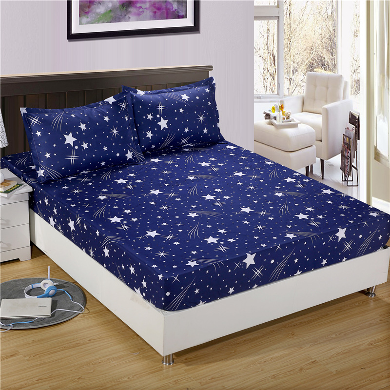 Bonenjoy 3pc Bed Sheet with Pillowcase Geometric Printed Fitted Sheet With Elastic Bed Linen Polyester Mattress Cover Queen Size