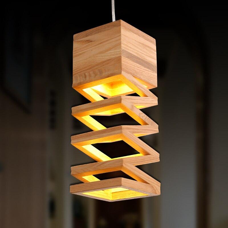 Lampes nordiques modernes lampes suspendues rétro lampe en bois Restaurant Bar café salle à manger LED lampe suspendue luminaire en bois