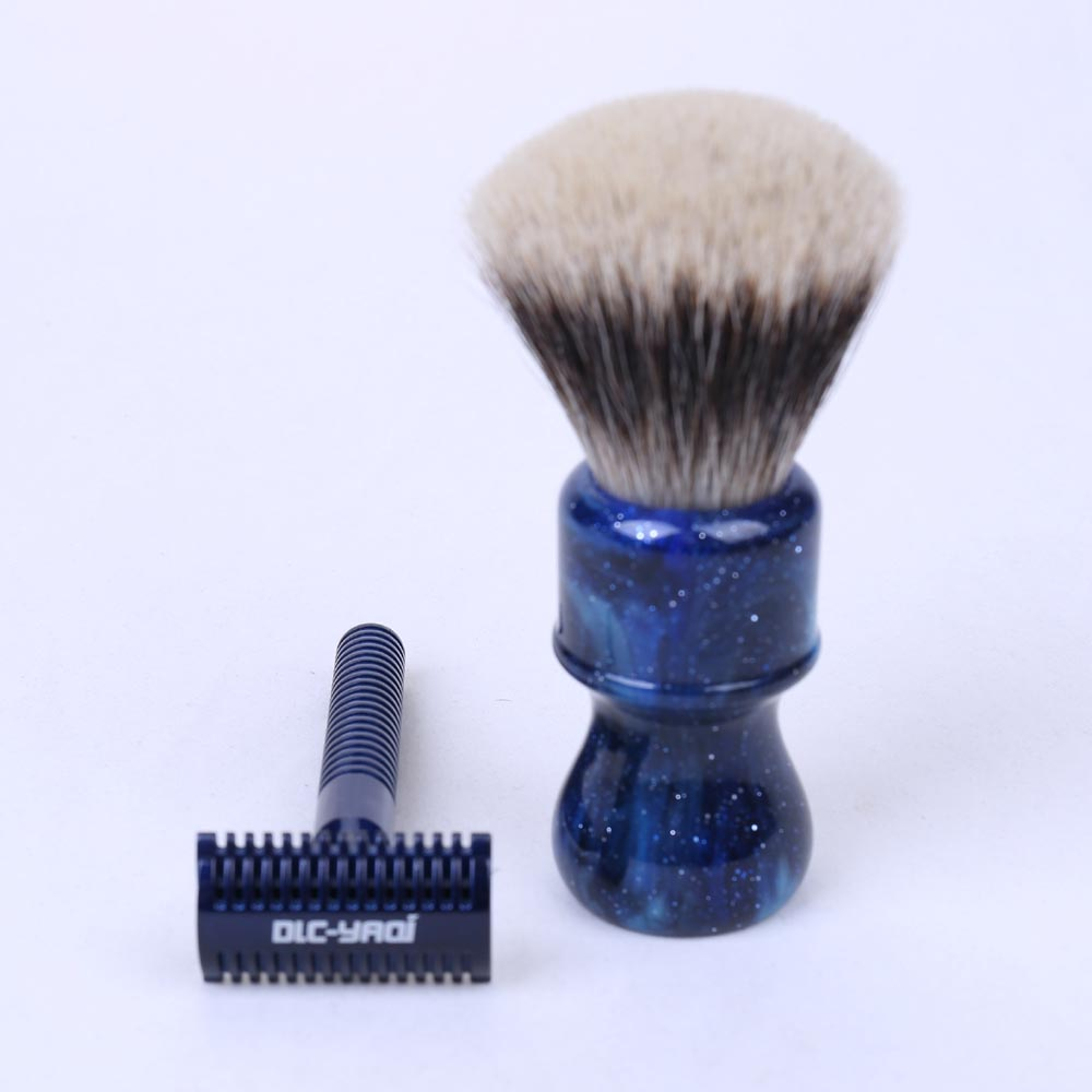 Two Band Badger Hair Shaving Brush and Safety Razor Set mens badger shaving brush stand razor holder and double head safety straight razor
