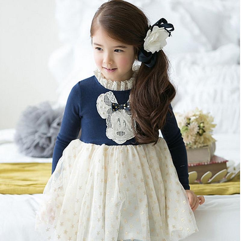 children dresses girls new 2016 cartoon cotton longsleeve