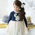 Crianças se Veste Meninas Novo 2016 de Algodão Dos Desenhos Animados Longsleeve Bonito Coreano Vestidos Outono Inverno Vestido 2-7years Crianças Roupa Do Bebê