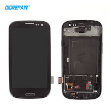 Black For Samsung Galaxy S3 i9300 LCD Display Touch Screen Digitizer with Home Botton Full Assembly + Bezel Frame Free shipping