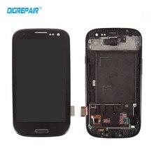 Negro Para Samsung Galaxy S3 i9300 Pantalla LCD de Pantalla Táctil digitalizador con Botton Casa Completa Asamblea + Bisel Del Capítulo del Envío gratis