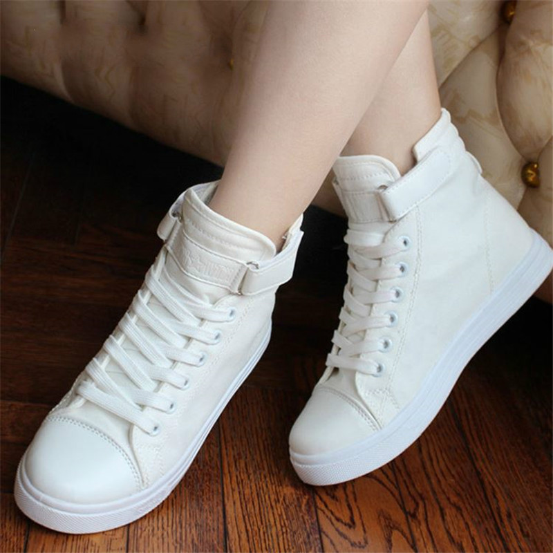 Vulcanize Shoes White Denim Sneakers Basket Femme Casual Shoes tenis feminino High Top Flat Shoes Trainers Women Zapatos Mujer(China)